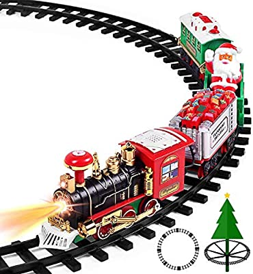 Battery Operated Christmas Xmas Tree Train Set With Sound /& Light Decoration