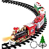 AOKESI Toy Train Set with Lights and Sounds - Christmas Train Set Around Tree - Electric Railway Train Set w/ Locomotive Engine, Cars and Tracks, Battery Operated Xmas Train Gift for Kids Boys Girls