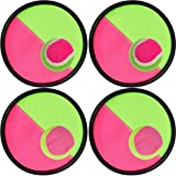 Toss and Catch Ball Set Disc Paddle and Toss Ball Game Set for Kids and Adult, 4 Set