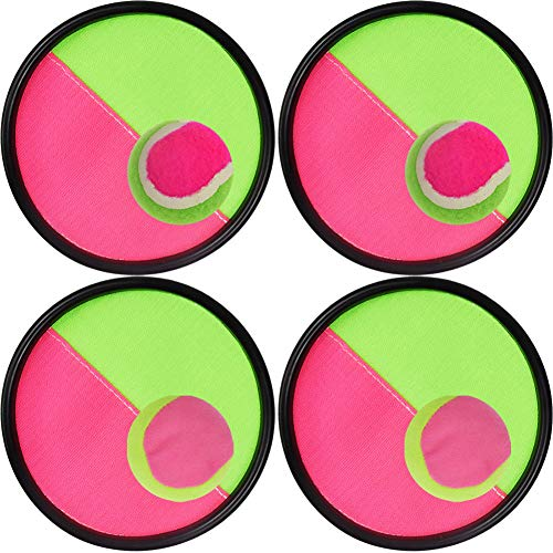Toss and Catch Ball Set Disc Paddle and Toss Ball Game Set for Kids and Adult, 4 Set (Baseball Paddle)
