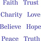 """Words of Faith Stencil - (size 5""""w x 5""""h) Reusable Wall Stencils for Painting - Best Quality Wording Words and Quote Ideas - Use on Walls, Floors, Fabrics, Glass, Wood, and More…"""