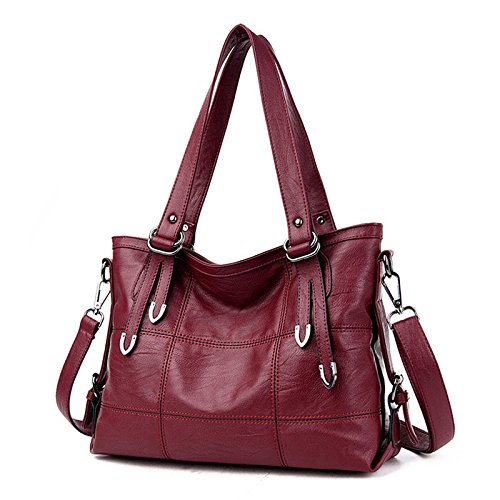 2017 New Fashion Patchwork Women Casual Shoulder Bag High Quality Black Pu Leather original Handbag Vintage Stitching Crossbody Bag sac ( Color Red Wine)