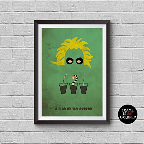Beetlejuice Minimalist Poster Tim Burton Alternative Movie Print It's Showtime Vintage Pop Culture and Modern Home Decor Cinema Poster Artwork Wall Art Wall Hanging Cool Gift -