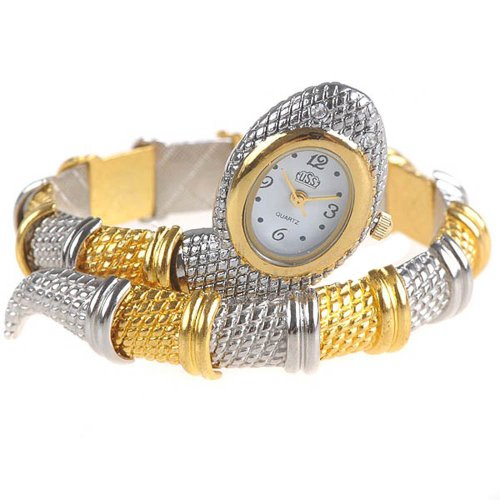 Chic Snake Shaped Analog Bangle Watch Bracelet Wrist Watch Timepiece for Lady Woman - Silver & Golden SWTH8-51306 Shaped Analog