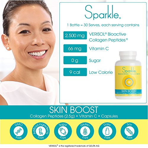 Sparkle Collagen Peptide Supplement Capsules 30 days Pills 2500mg featuring Verisol Bioactive Collagen Peptides,150 capsules by Sparkle Collagen (Image #8)