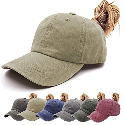 One Womens Cap - Aedvoouer Ponytail Baseball Hat Women Vintage Messy High Bun Washed Cotton Ponycaps Adjustable Trucker Hat (V-Khaki(Ponytail hat))