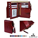Befen Women's RFID Blocking Luxury Full Grain Genuine Leather Bifold Trifold Wallet Multi Card Organizer Holders for Ladies (Burgundy RFID Wallet Small)