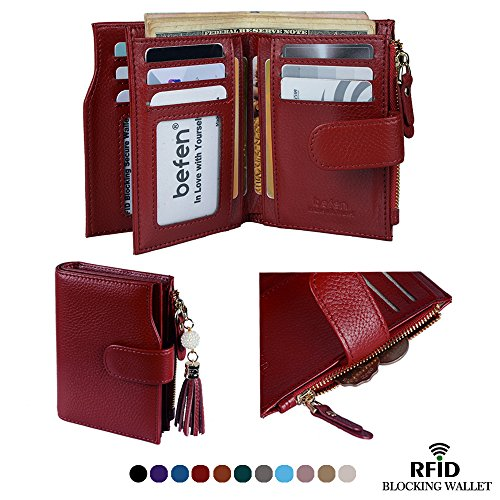 Befen Women's RFID Blocking Luxury Full Grain Genuine Leather Bifold Trifold Wallet Multi Card Organizer Holders for Ladies (Burgundy RFID Wallet Small) by Befen