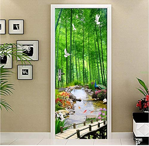 Etiqueta De La Puerta Creativo Diy Pvc Impermeable Mural 3D Bamboo Forest Scenery Painting Wall Room Living Room Door Wallpaper 77X200Cm: Amazon.es: Bebé