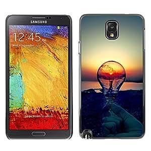 TECHCASE**Cubierta de la caja de protección la piel dura para el ** Samsung Galaxy Note 3 N9000 N9002 N9005 ** Sunset Idea Light Bulb Clever Idea