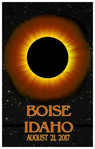 Boise Idaho Solar Eclipse Giclee Travel Art Poster (24 x 36 inch) Art Print for Bedroom, Family Room, Kitchen, Dorm Room or Office Wall - Teton Idaho Falls Mall
