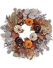 Valery Madelyn 18 inch herfst pompoen krans voor voordeur, kunstmatige oogst Thanksgiving deurkrans, herfst decoraties met dennenappel, bessen clusters, esdoorn bladeren voor raammuur open haard