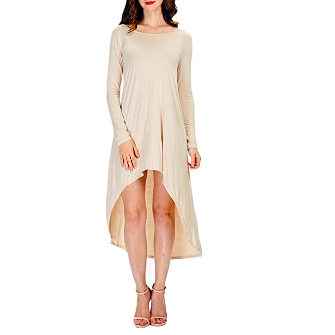 Ensasa Womens Long Sleeve Hi-Low Casual Loose T-Shirt Dress, Beige,