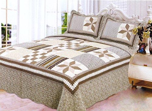 Homemusthaves 3PCS Quilt Set Brown White Beige Multi-Color Modern Design Quilt Bedspread Bed Coverlet (King)