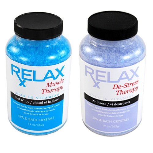 (Muscle & Stress Therapy Rx Aromatherapy Bath Salts -19 Oz Bottles- Soak Aches, Pains & Stress Relief for Spa, Bathtub, Hot)