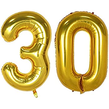 40inch Gold Number 30 Balloon Party Festival Decorations Birthday Anniversary Jumbo Foil Helium Balloons Supplies Use Them As Props For Photos