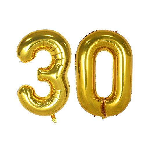 40inch Gold Number 30 Balloon Party Festival Decorations Birthday Anniversary Jumbo foil Helium Balloons Party Supplies use Them as Props for Photos 40inch Gold Number 30
