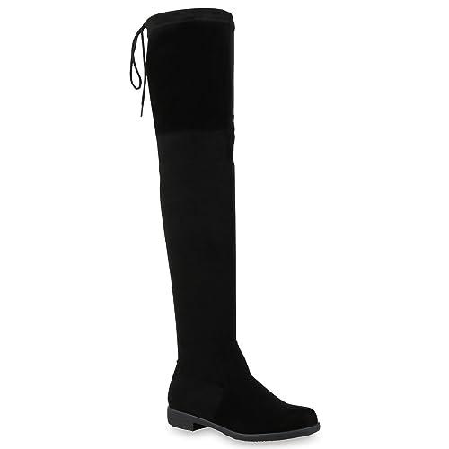 vorbestellen Top Qualität Schuhe für billige Stiefelparadies Damen Stiefel Overknees mit Blockabsatz Schleifen Flandell