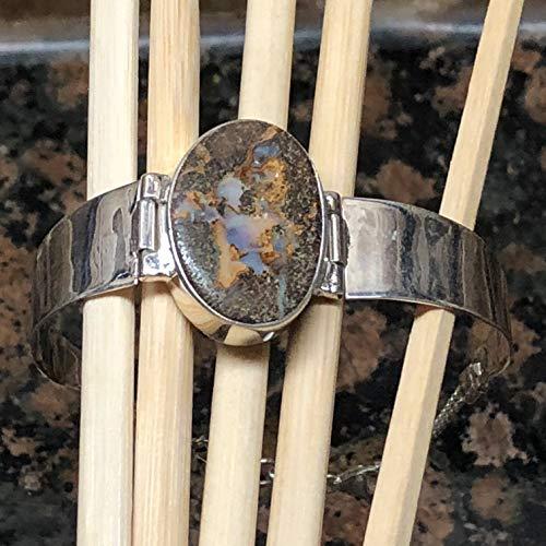 Natural Australian Koroit Matrix boulder opal 925 Sterling Silver Bracelet 7