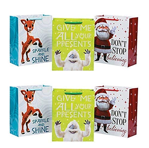 Fun Express ~ 12 Pack -Rudolph The Red Nosed Reindeer Gift Bags – Medium