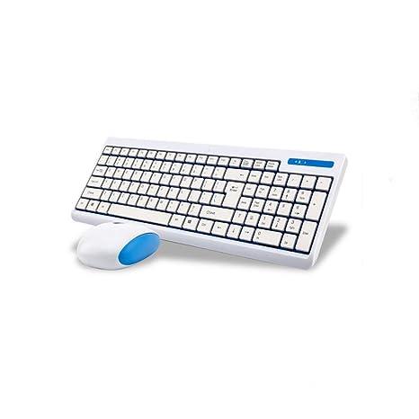 VEEKI - Teclado inalámbrico ultrafino 2,4 G con teclado óptico silencioso y ratón para