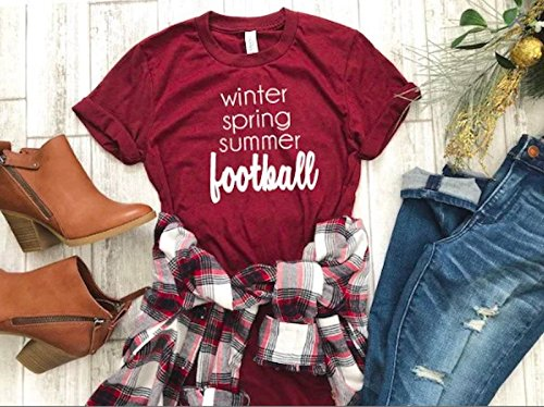 women's fall t-shirt cute football tee cute women's shirt thanksgiving t-shirt hello fall tee by Up2ournecksinfabric LLC