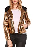 Easther Women's Sequin Lightweight Classic Quilted Short Leather Coat Motorcycle Bomber Jacket,golden,Large
