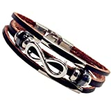 SWEETIE 8 Infinity Brown Braided Mens Leather Bracelet Hook Clasps 7.5''