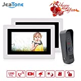 Jeatone 7 Inch Video Door Phone Doorbell Wired Intercom Systems for Home 1-camera 2-monitor Night Vision for 2 Units Apartment, Support Monitoring, Unlock, Dual way Door Talking