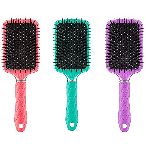 Conair Tourmaline Tropics Detangle and Style Paddle Hair Brush with Gel Grip 3 Pack Set (3 Pack)