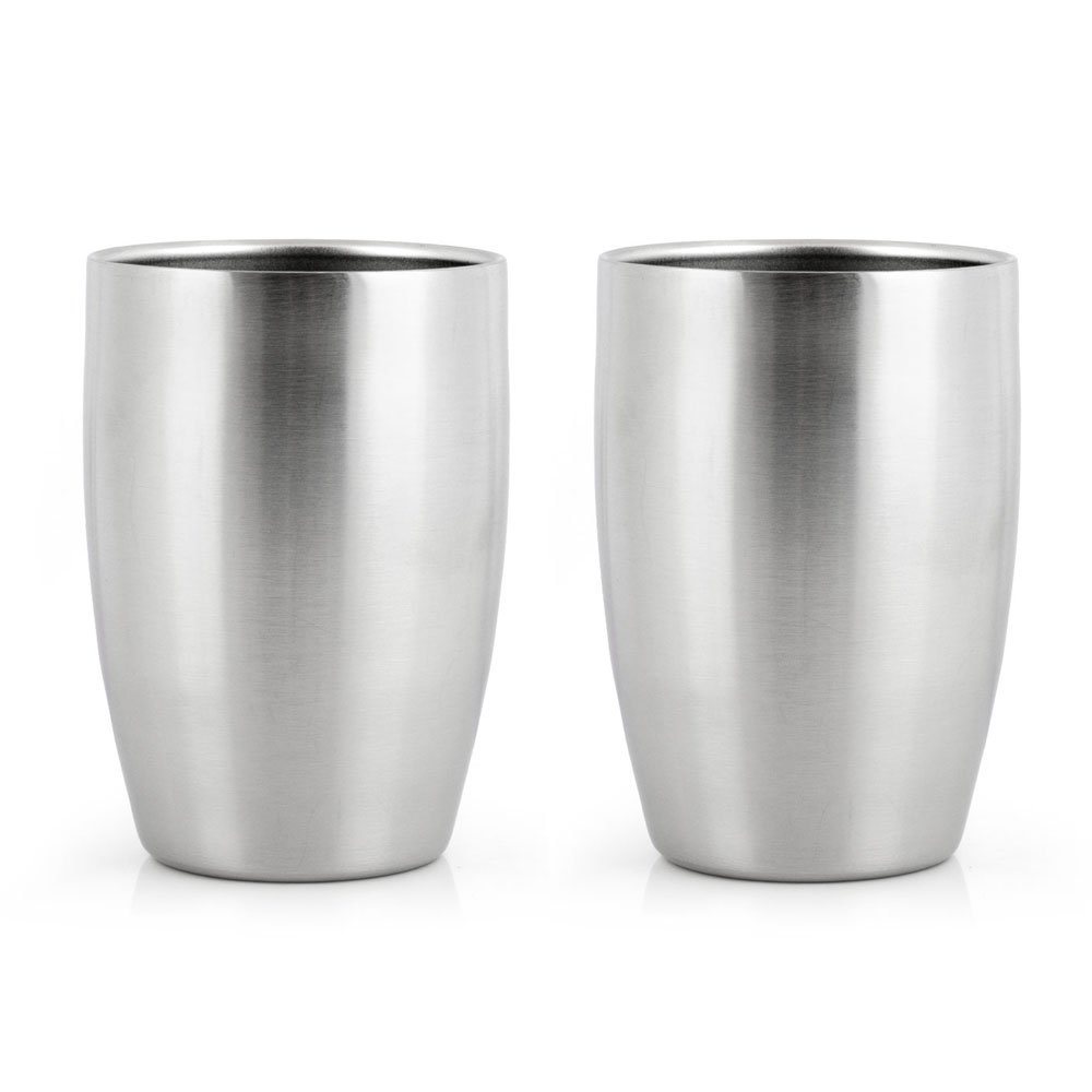 2pcs Brushed Double-deck Stainless Steel Drinking Cup Beer Wine Glass Set Of 2 (8.4OZ/250ML)