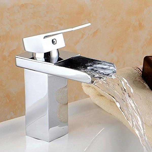 Hapilife Grifo Lavabo Monomando Casada Cristal Encimera Grifo para Ba/ño Fabricado Lat/ón Cromado Anti-ruido Agua Fr/ía y Caliente Disponible