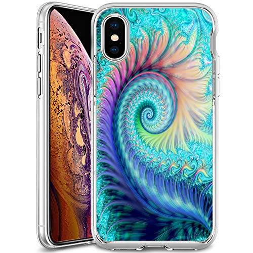 Swirl Feather iPhone Xs Max Case Bumper, Ultra Slim Clear Soft Flexible Crystal Rubber Gel Back Cover iPhone Xs Max