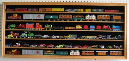 HO, N Scale Trains, Hot Wheels, Toy Cars, Minifigures Display Case Rack Wall Cabinet Wall Shadow Box w/ UV Protection- Lockable (Oak Finish) by DisplayGifts (Image #1)