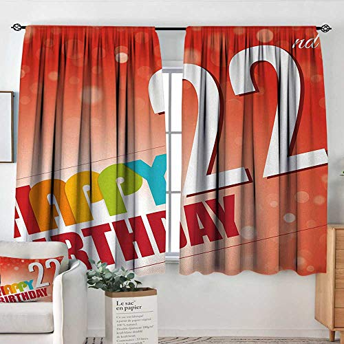 (Theresa Dewey Window Curtains 22nd Birthday,Invitation to Happy Celebration of A New Age Bokeh Effect Style Art Print,Red White,Fashionable Illustration Customized Curtain 52