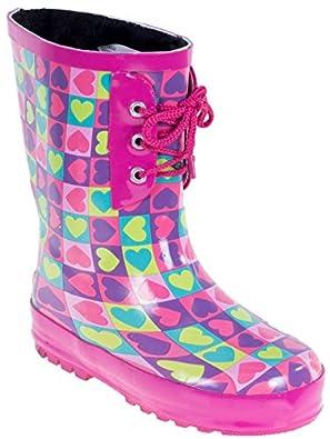 Amazon.com | Kids Rain Boots Cute Children Faux Fur Lined Boots