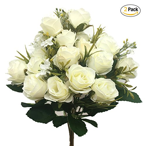 Silk Roses Wedding Flowers - CATTREE Artificial Rose Flowers, Artificial Silk Fake Flowers 5 Branch 10 Heads Leaf Rose Wedding Floral Decor Bouquet for Home Garden Party Wedding Decoration (White) 2pcs