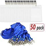 Aobear 50pcs Waterproof transparent Vertical ID name label badge and Sturdy blue lanyards