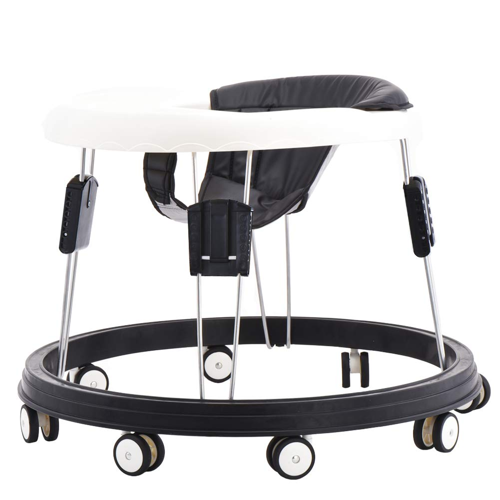 PU Black Cushion Baby Walker with Eight Universal Wheels 9 Speed Adjustable Height Child Anti-Rollover Folding Toddler Walker for Baby 6-18Months Maximum Load 15 kg