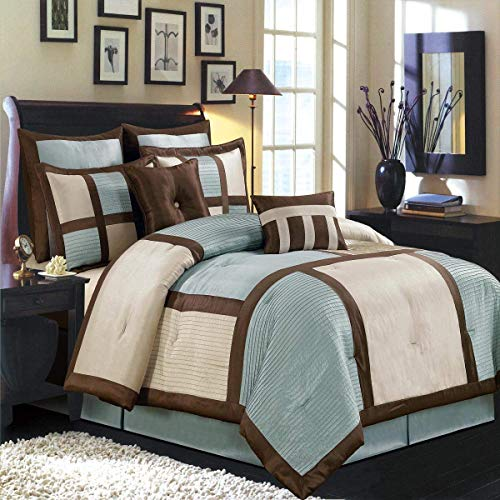 Royal Hotel Morgan Blue, Brown, and Cream Full Size Luxury 8 Piece Comforter Set Includes Comforter, Bed Skirt, Pillow Shams, Decorative Pillows