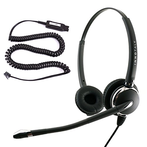 Best Noise Cancel Headset for Avaya 5620 5621 5625 6416 6424 QE4610 9404 9406 9408 9504 9508 - Plantronics compatible QD Pro Binaural Phone Headset + HIC Headset Cord by InnoTalk