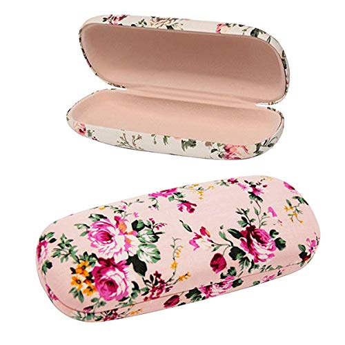Hard Eyeglass Eye Case - 2 Pack Durable Floral Small Eyeglass Case Hard Protective Eye Case for Glasses (Pink+Beige)