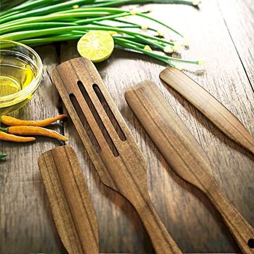 Wooden Cooking Utensils, TOPLANET 4 Pcs Natural Teak Kitchen Utensil Set Heat Resistant Non Stick Wood Cookware with Hanging Hole, Slotted Spurtle Spatula Sets for Stirring, Mixing, Serving