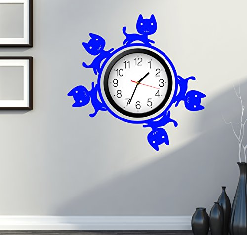 Cat Kitty Pets Cute For Bedroom Wall Decal Around Clock Dark Blue (z2689)