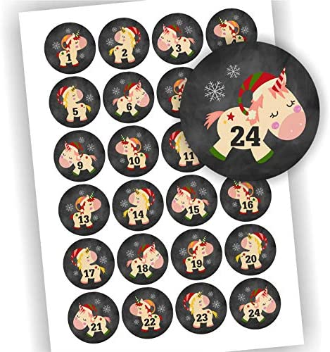 Play-Too 24 Aufkleber Adventskalender Zahlen Fest Weihnachten Einhorn schwarz Aufkleber Sticker