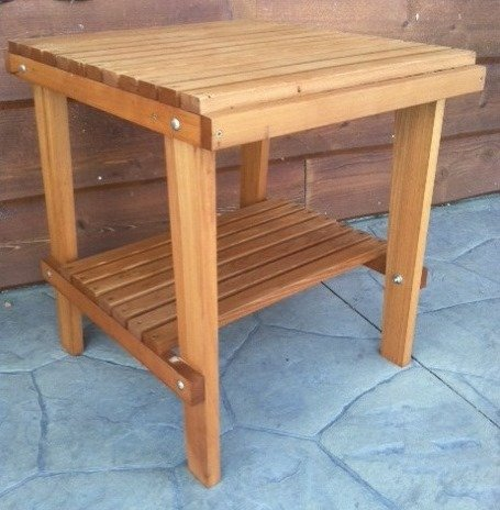 Cedar Side Table with Shelf & Stained Finish, Amish Crafted For Sale