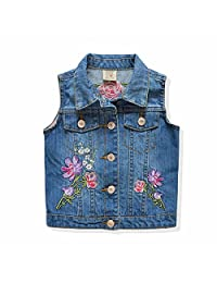 Goodluckclothes Kids Girls Sleeveless Embroidery Cotton Denim Vest Jacket 2-8 Years