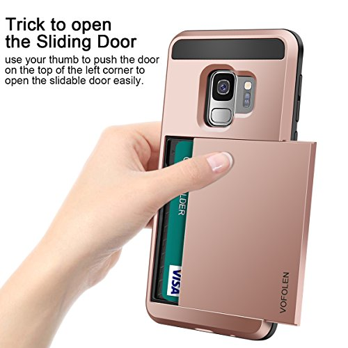 Vofolen Cover for Galaxy S9 Case Wallet Card Slot Holder Sliding Hidden ID Pocket Dual Layer Heavy Duty Protection…