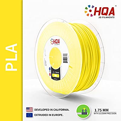 HQA PLA+ 3D Printer Filament, Yellow, 1.75MM, 1KG Spool, [100% USA NatureWorks 4043D]