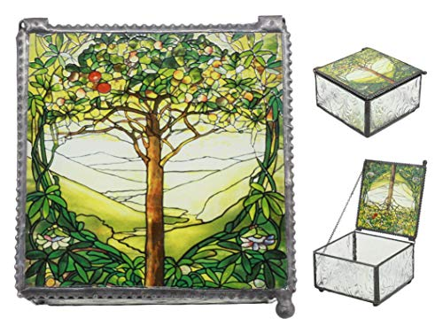 (Ebros Louis Comfort Tiffany Northrop Memorial Window Collection Tree of Life Stained Glass Art Jewelry Box As Small Storage Solution Knick Knack Container Celtic Decoration and Gift Idea)